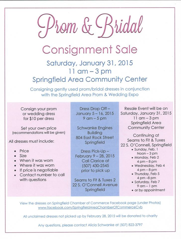 Consignment Dress Sale & Prom & Wedding Expo - Springfield Minnesota ...