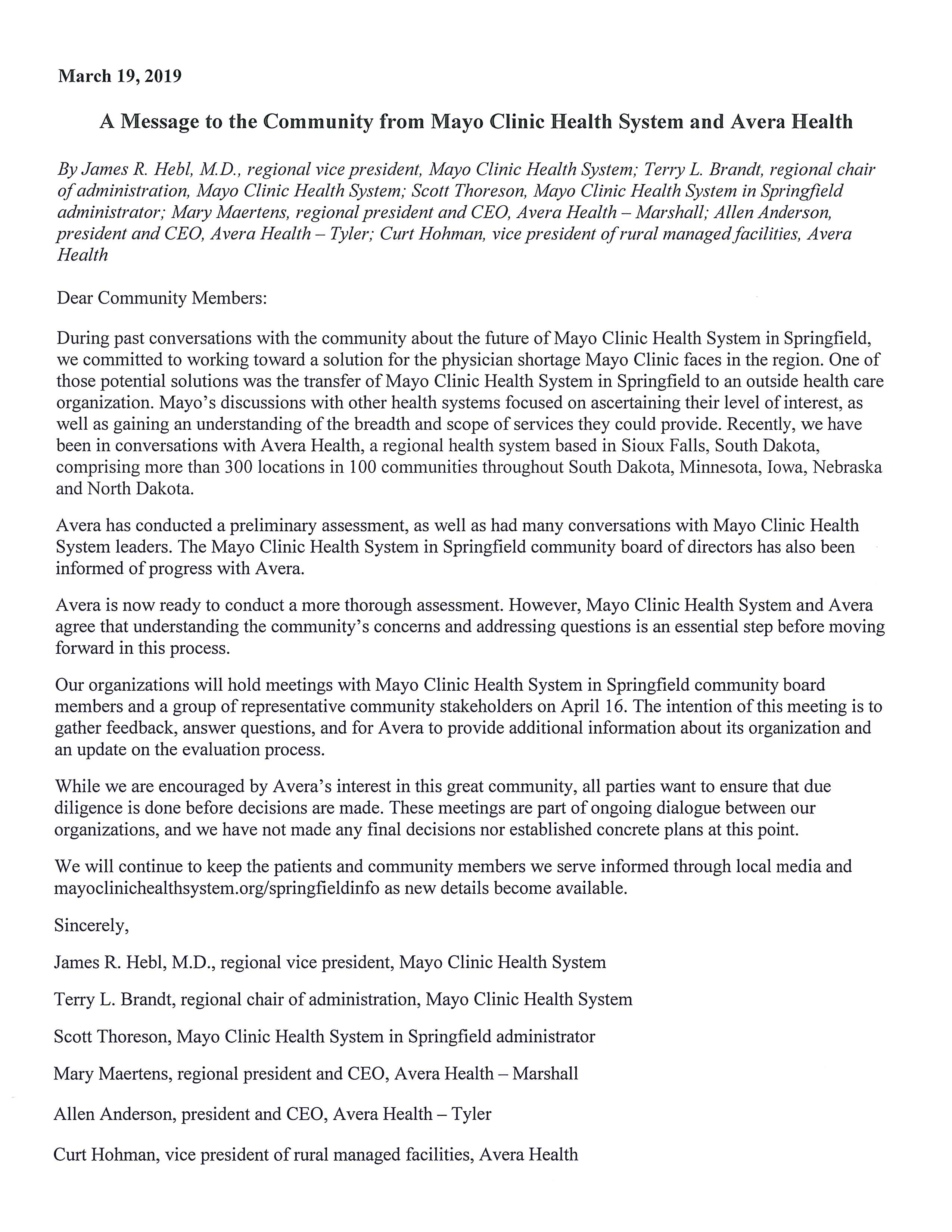 News Release - Mayo Clinic Health System-Springfield